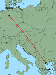 Map of route from Hanover to Thessaloniki