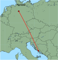 Map of route from Split to Hanover