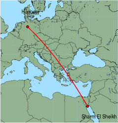 Map of route from Hanover to Sharm El Sheikh