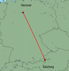 Map of route from Salzburg to Hanover