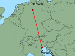 Map of route from Hanover to Venice(MarcoPolo)