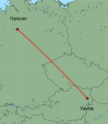 Map of route from Vienna to Hanover