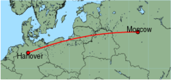 Map of route from Moscow (Vnukovo) to Hanover