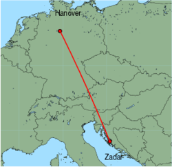 Map of route from Zadar to Hanover