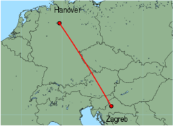 Map of route from Zagreb to Hanover