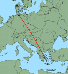 Map of route from Hamburg (Fuhlsbuettel) to Heraklion