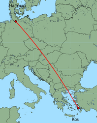 Map of route from Hamburg(Fuhlsbuettel) to Kos