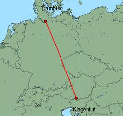 Map of route from Klagenfurt to Hamburg(Fuhlsbuettel)