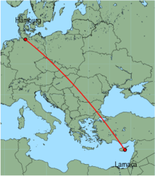 Map of route from Larnaca to Hamburg(Fuhlsbuettel)