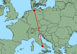 Map of route from Naples to Hamburg (Fuhlsbuettel)