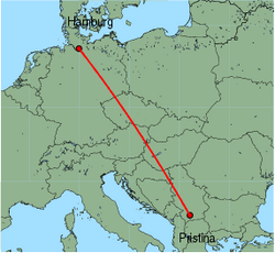 Map of route from Pristina to Hamburg&nbsp;(Fuhlsbuettel)
