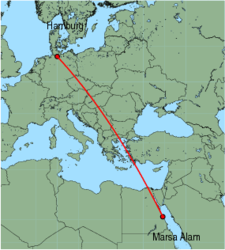 Map of route from Marsa Alam to Hamburg (Fuhlsbuettel)