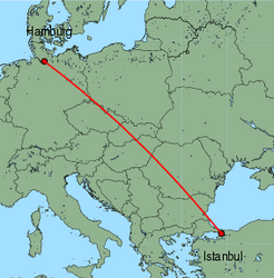 Map of route from Hamburg(Fuhlsbuettel) to Istanbul(Sabiha)