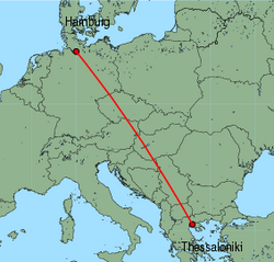 Map of route from Hamburg (Fuhlsbuettel) to Thessaloniki