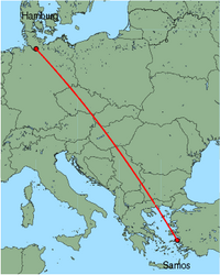 Map of route from Hamburg (Fuhlsbuettel) to Samos