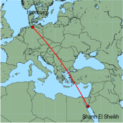 Map of route from Hamburg(Fuhlsbuettel) to Sharm El Sheikh