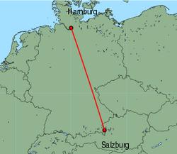 Map of route from Salzburg to Hamburg(Fuhlsbuettel)