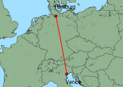 Map of route from Hamburg(Fuhlsbuettel) to Venice(MarcoPolo)