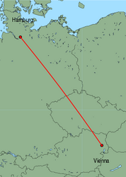 Map of route from Vienna to Hamburg(Fuhlsbuettel)