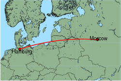Map of route from Moscow (Vnukovo) to Hamburg (Fuhlsbuettel)