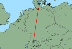 Map of route from Zurich to Hamburg(Fuhlsbuettel)