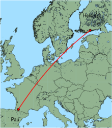 Map of route from Helsinki to Pau