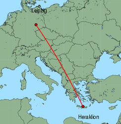 Map of route from Leipzig to Heraklion