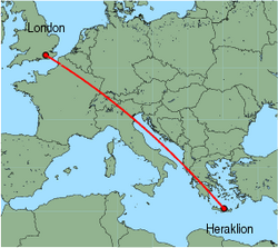 Map of route from London (Gatwick) to Heraklion