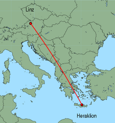 Map of route from Linz to Heraklion