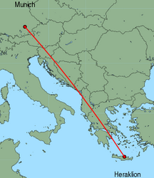 Map of route from Munich to Heraklion