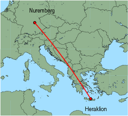 Map of route from Nuremberg to Heraklion
