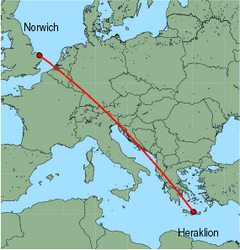 Map of route from Norwich to Heraklion