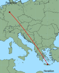 Map of route from Paderborn to Heraklion