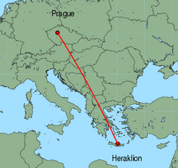 Map of route from Prague to Heraklion