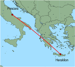 Map of route from Pescara to Heraklion