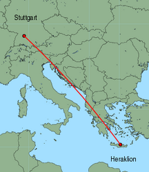 Map of route from Stuttgart to Heraklion