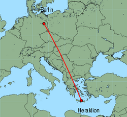 Map of route from Berlin (Schoenefeld) to Heraklion