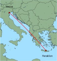 Map of route from Heraklion to Venice (Marco Polo)