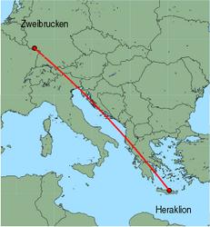 Map of route from Zweibrucken to Heraklion