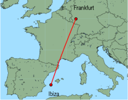 Map of route from Ibiza to Frankfurt(Hahn)