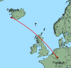 Map of route from Reykjavik to Frankfurt(Hahn)