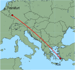 Map of route from Frankfurt (Hahn) to Kos