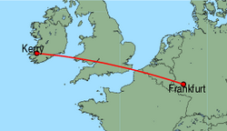 Map of route from Kerry to Frankfurt (Hahn)
