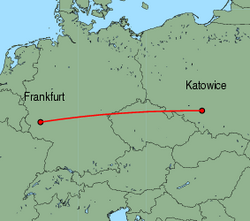 Map of route from Katowice to Frankfurt(Hahn)