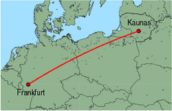 Map of route from Kaunas to Frankfurt (Hahn)