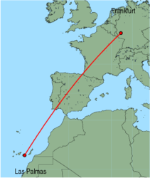 Map of route from Las Palmas to Frankfurt (Hahn)