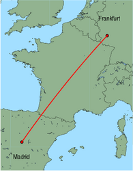 Map of route from Madrid to Frankfurt (Hahn)