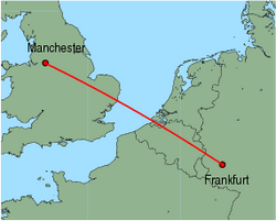 Map of route from Manchester to Frankfurt(Hahn)