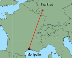 Map of route from Frankfurt (Hahn) to Montpellier