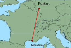 Map of route from Frankfurt (Hahn) to Marseille